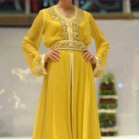Caftan Jaune 2016 - Catalogue Robes de Luxe - Caftan Marocain Paris ... 19a3c470fa6
