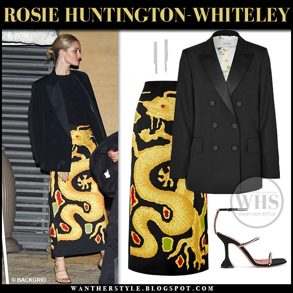Rosie Huntington-Whiteley in black and yellow dragon print Valentino skirt and black Racil blazer Valentine's Day date outfit february 2019