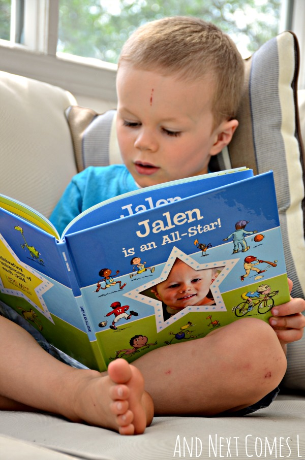 Reading the new I'm an All Star personalized storybook from I See Me {review & giveaway} from And Next Comes L