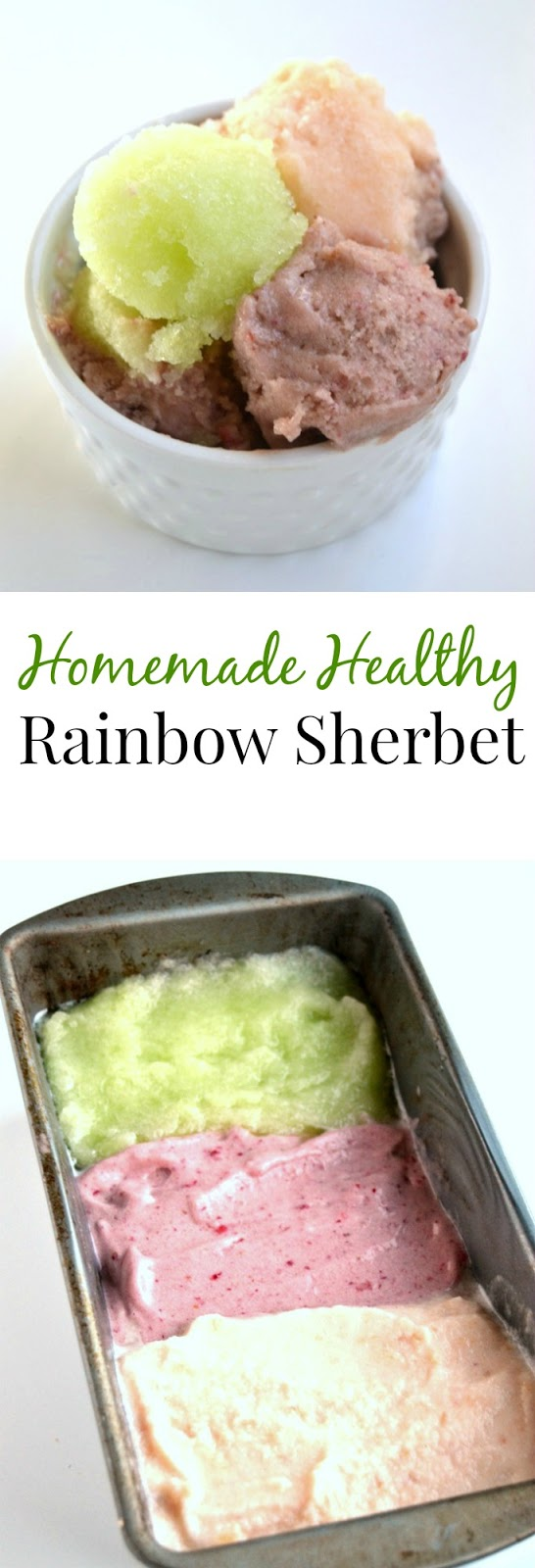 Homemade Healthy Rainbow Sherbet is made with fresh cantaloupe, honeydew melon and strawberries for a much healthier dessert that is simple to make and delicious! www.nutritionistreviews.com