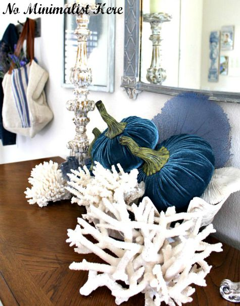 Coastal Fall Entry with Blue Fabric Pumpkins and Sea Life