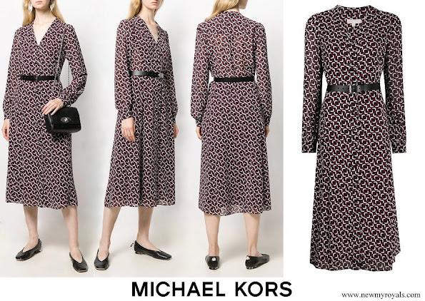 Kate Middleton in MICHAEL MICHAEL KORS printed midi dress