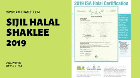 Sijil Halal Shaklee 2019
