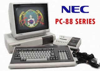 Imagen de un PC-88 de NEC. En la pantalla podemos observar la presentación de Ys: The Vanished Omens