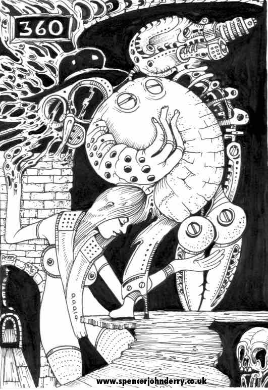 Strange Crew • Hand Drawn Original Dark Surrealism Art Drawing Spencer John Derry artist