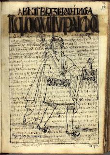 Lloque Yupanqui, tercer inca, dibujo de Felipe Guamán Poma de Ayala