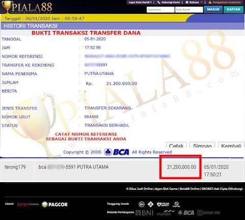 Selamat Kepada Member Setia PIALA88 Withdraw RP 21.200.000