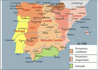 This map is similar to the previous one, with the majority of kingdoms extending further south. The Muslim kingdom of Granada has been reduced to a small portion of the southeast coast. Portugal has taken its present-day form. The combined kingdoms of Galicia, Asturias, and Leon occupy the area around Portugal to the north and east, except a small portion of the southeast border of Portugal, which adjoins Castille. Castille takes up the central column of the peninsula, as well as all the area surrounding Granada, forming a sort of inverted T shape. Navarre has changed little, still occupying a small area in the northern central region. Aragon is a triangular kingdom extending from Navarre and France to a point in the south. Cataluña occupies nearly all of the east coast, from France down to the eastern portion of Castille, which has a small section of the southeastern coast.