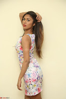 Nishi Ganda stunning cute in Flower Print short dress at Tick Tack Movie Press Meet March 2017 030.JPG