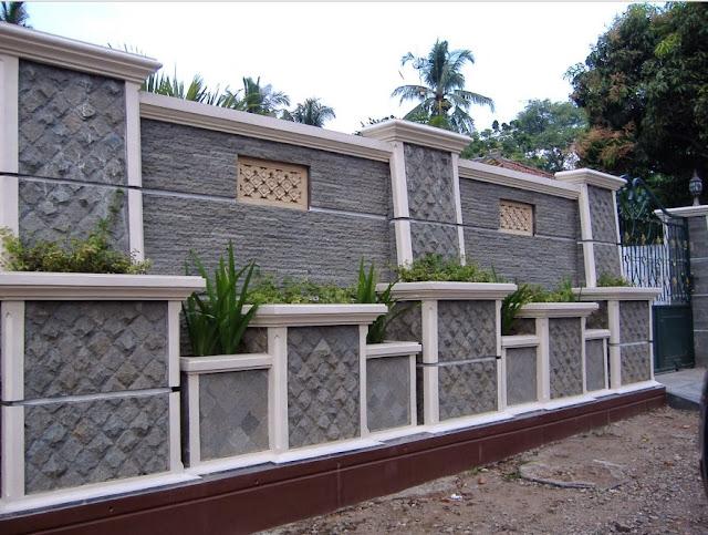 pagar batu alam minimalis