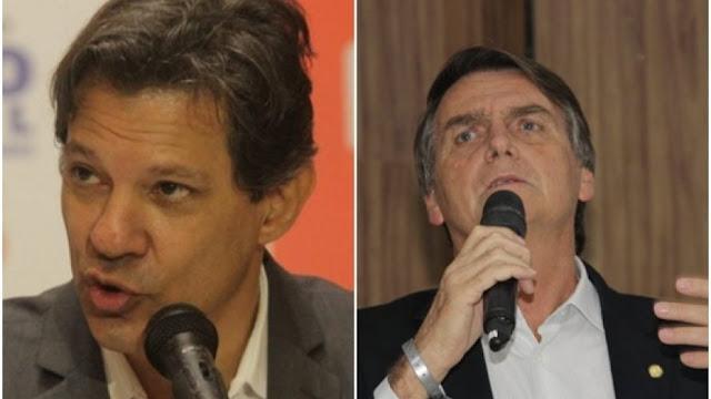 2º turno: Bolsonaro tem 59% dos votos válidos, Haddad tem 41%, aponta pesquisa XP Investimentos