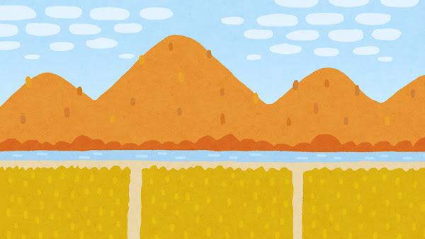 紅葉した山と田んぼのイラスト(背景素材)