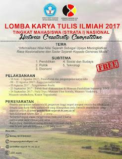 Lomba Karya Tulis Ilmiah Nasional 2017 di Jogjakarta [Gratis]