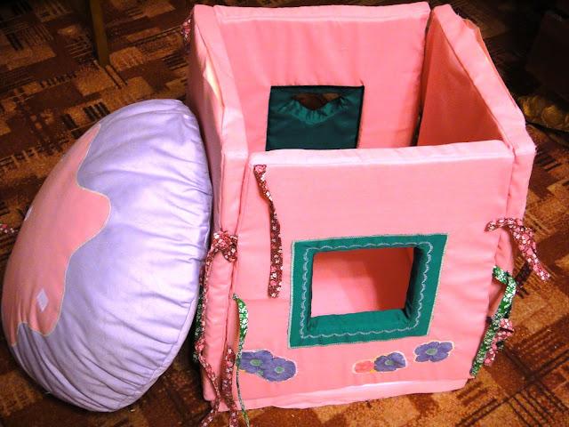 Дом Смурфетты, смурфики: натуральный хлопок, поролон - подарок девочке