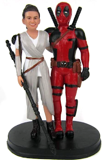 Custom Deadpool and Bride Wedding Cake Topper