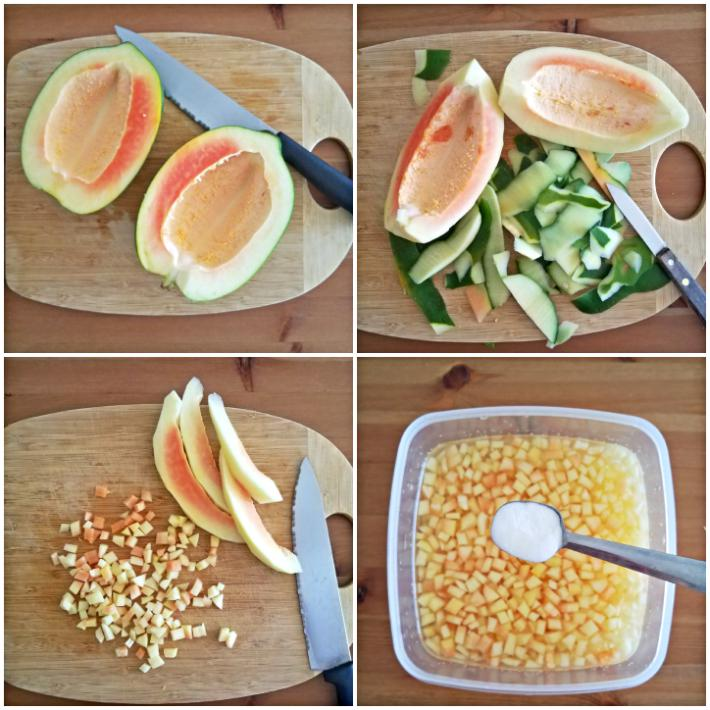 Haciendo frutas confitadas: la papaya se corta, quita la piel y se corta en pequeños cuadritos