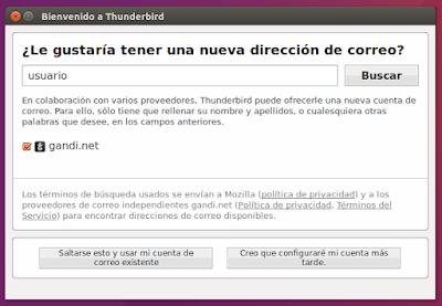 Bienvenido a Thunderbird