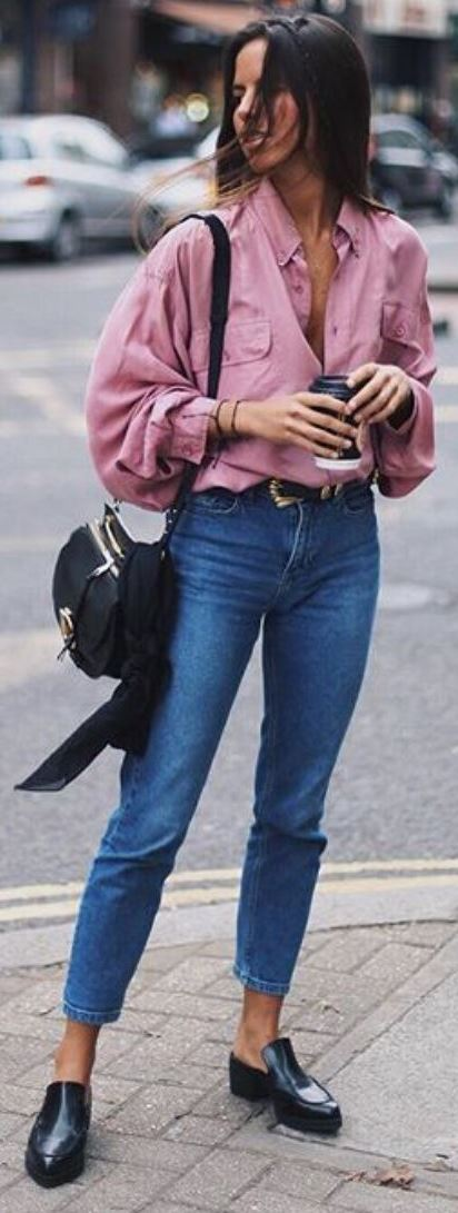street style obsession: pink shirt + bag + jeans