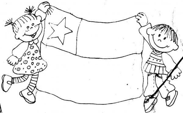 niños bandera de Chile para colorear