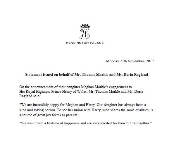 According to the statement made by Clarence House, it is said that Prince of Wales is delighted to announce the engagement of Prince Harry to Ms. Meghan Markle