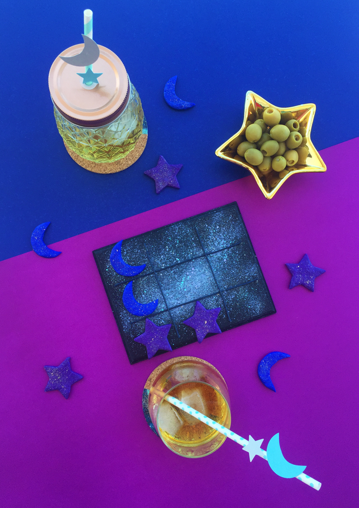 diy, tic tac toe, game, valetosdiy, partyblog, party time, do it yourself, moon, star, galaxy, party, christmas party