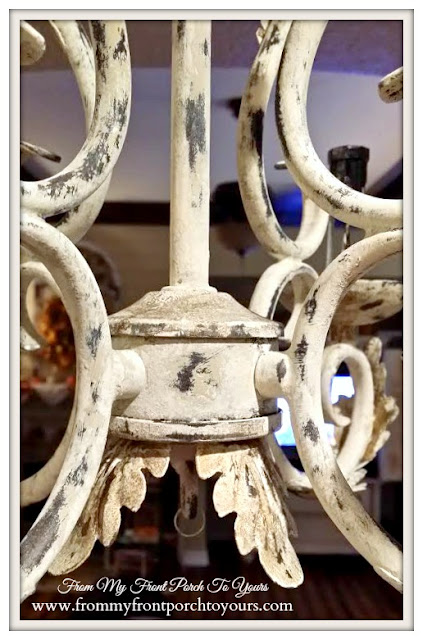 Old White-Country Gray-French Chandelier Makeover-Chalk Paint-Faux Finish- From My Front Porch To Yours