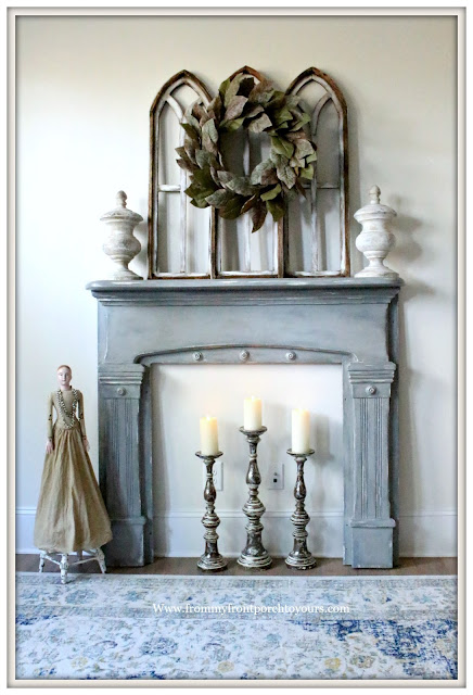 French Farmhouse-French Country-Vintage Fireplace Mantel Makeover-DIY-Paint Review-Magnolia Home Chalk Style Paint-From My Front Porch To Yours