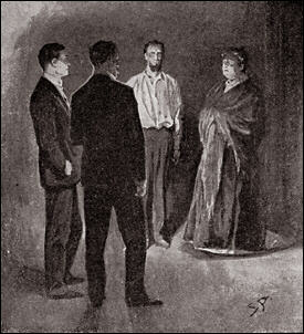 Mrs. Barrymore, paler and more horror-struck than her husband, was standing at the door. Her bulky figure in a shawl and skirt might have been comic were it not for the intensity of feeling upon her face.