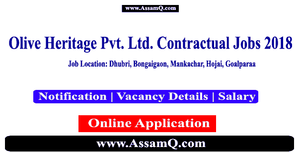 Olive Heritage Pvt. Ltd. Jobs Contract Basis Apply For Various Vacancies