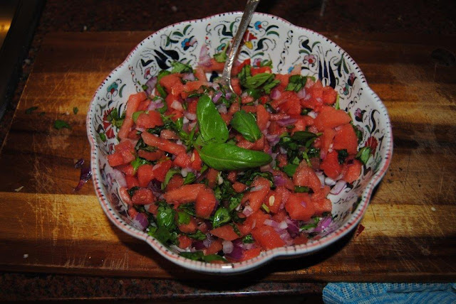 Watermelon + basil salsa