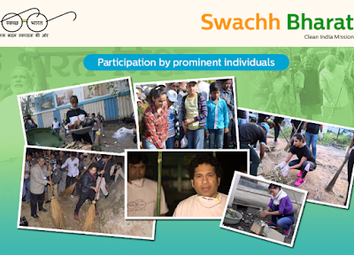 Sachin Tendulkar, Amitabh Bachchan, Saina Nehwal and other celebrities participating in Swachh Bharat Abhiyan