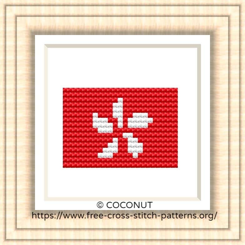 NATIONAL FLAG OF HONG KONG CROSS STITCH CHART
