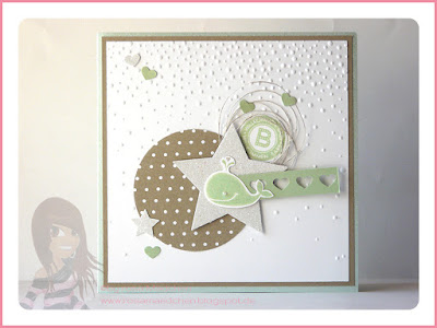 Stampin' Up! rosa Mädchen Kulmbach: Babykarte mit Fox and Friends, Fürs Etikett, Herzbordüre, Stern, Designerpapier und Prägeform leise rieselt