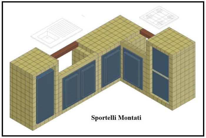 Costruire una cucina in muratura il fai da te - Sportelli cucina fai da te ...