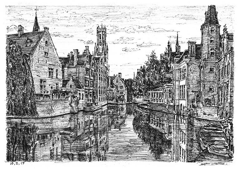 11-Bruges-Belgium-Stephen-Wiltshire-Urban-Drawings-from-Memory-with-Detailed-Cityscapes-www-designstack-co