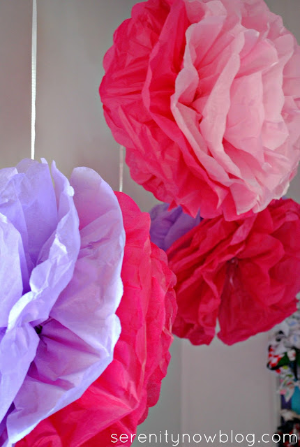 Tissue Paper Pom Poms in a Shared Girls' Room, from Serenity Now