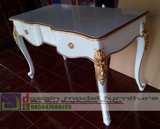 model meja konsul ukir klasik mewah duco putih kombinasi warna emas untuk rumah mewah