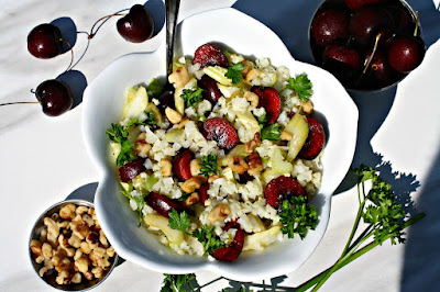 http://www.looneyforfood.com/cauliflower-cherry-and-walnut-salad/