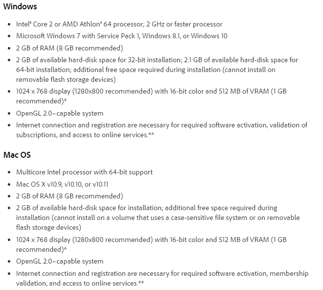 Adobe Photoshop CC 2015 System Requirements