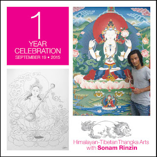 Thangka painting in Brooklyn with Sonam Rinzin 2015