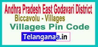 East Godavari District Biccavolu Mandal and Villages Pin Codes in Andhra Pradesh State