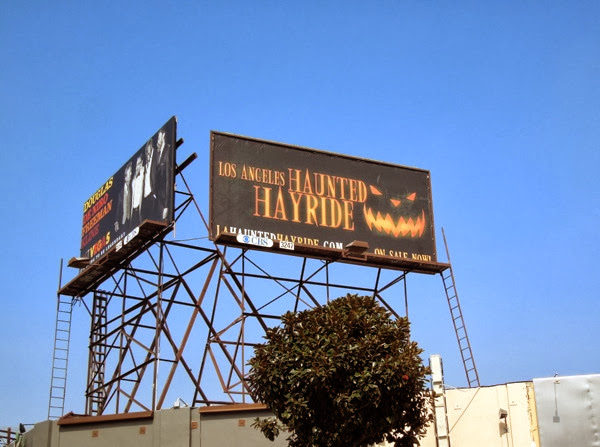 LA Haunted Hayride Pumpkin face billboard