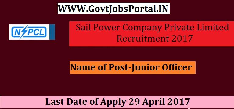Sail Power Company Private Limited Recruitment 2017 Junior