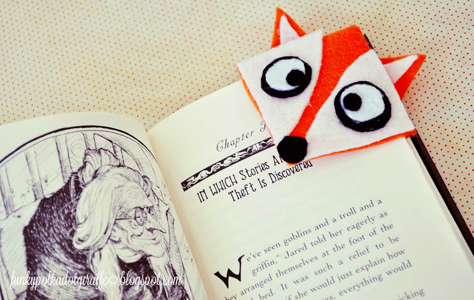 felt fox bookmark