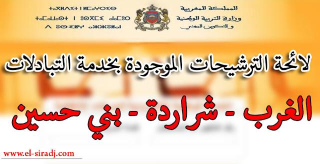 لائحة الترشيحات الموجودة بخدمة التبادلات 2016 لجهة الغرب - شراردة - بني حسين