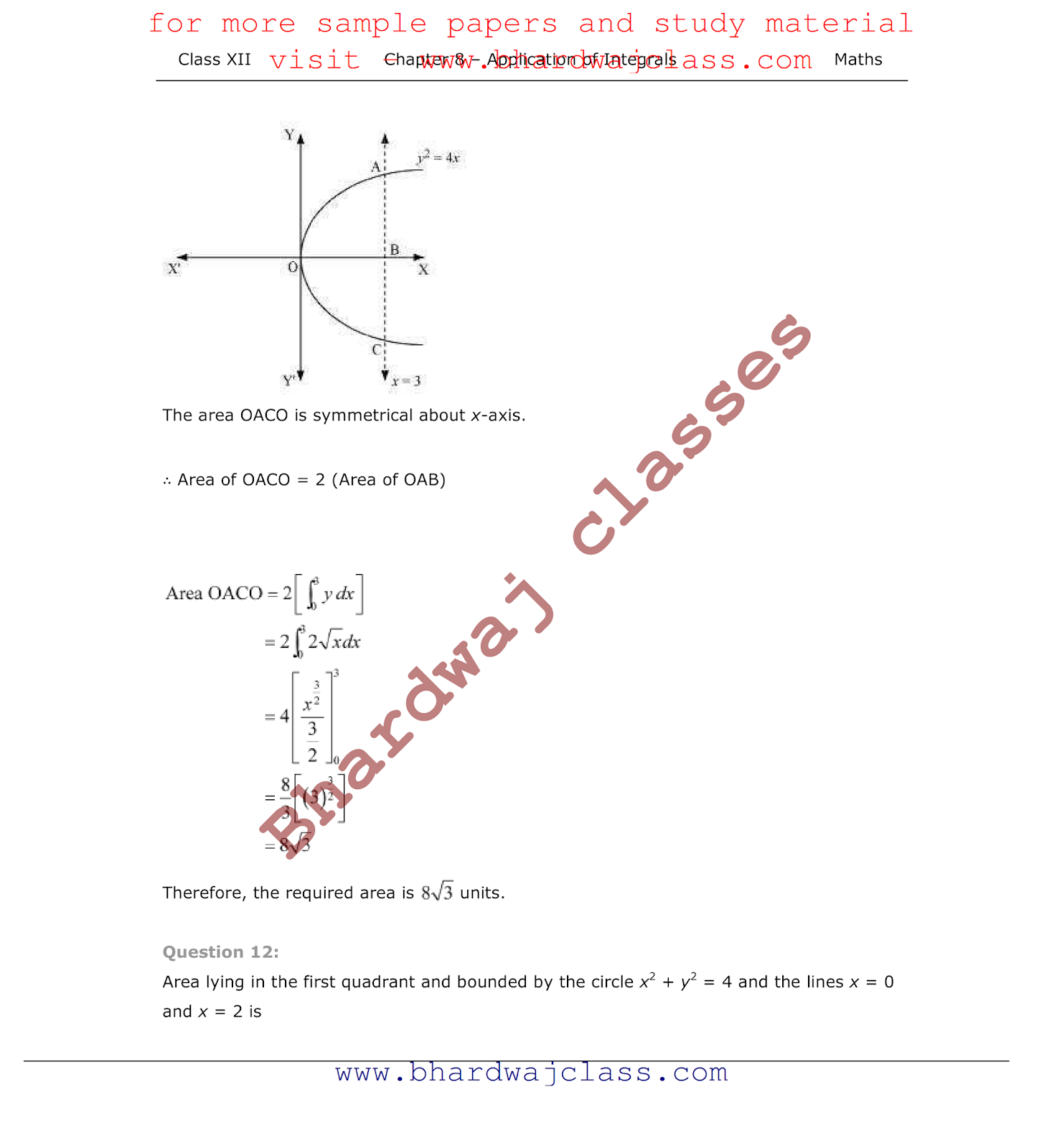 CBSE Class 12 Maths NCERT Solutions chapter - 8