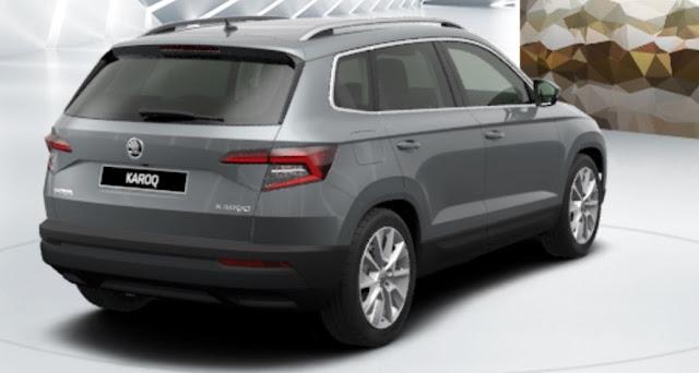 skoda karoq colore grigio business metallizzato vista posteriore laterale 8