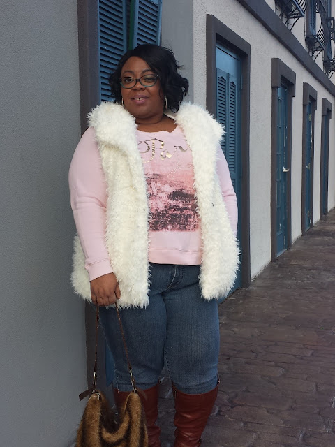 plus size faux fur vest, boots, denim