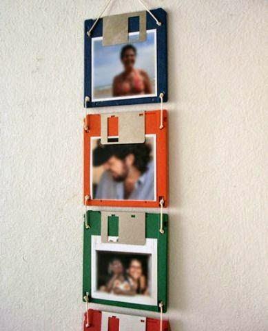 Portaretratos reciclados con disquetes viejos