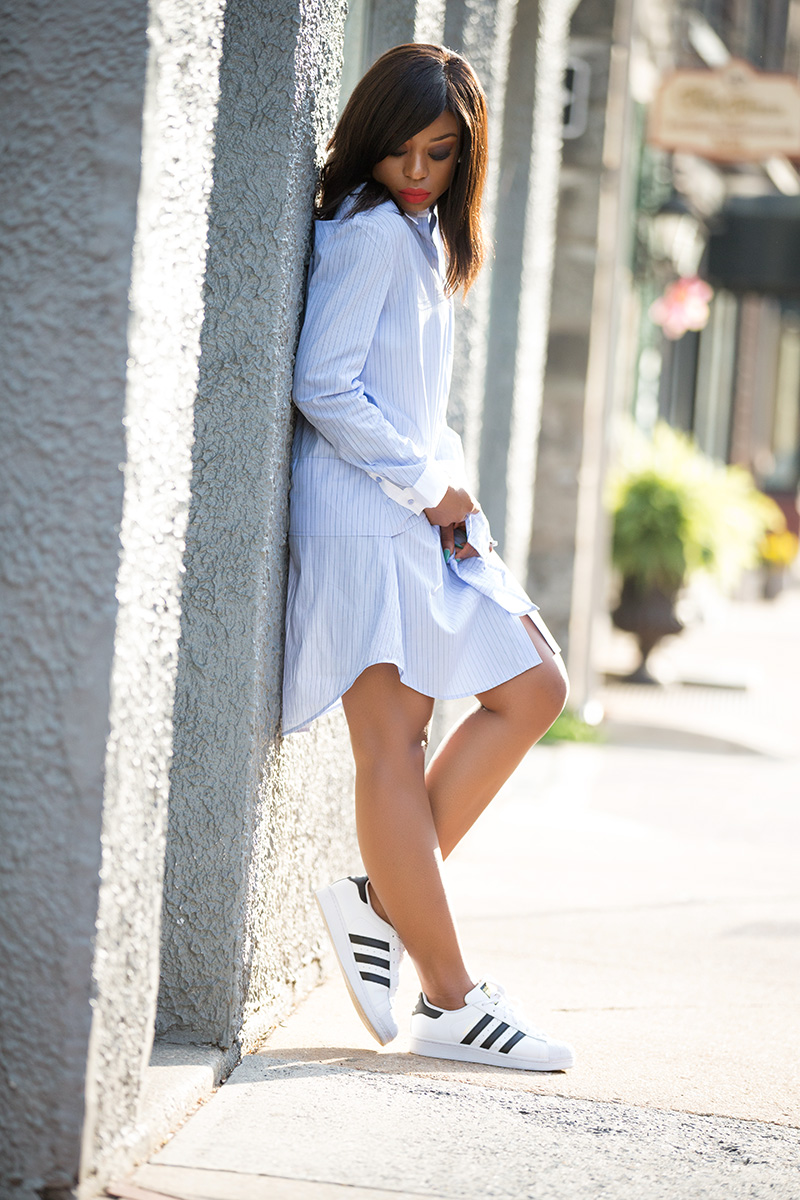 trouve stripe shirtdress, sporty chic, adidas superstar sneakers, www.jadore-fashion.com